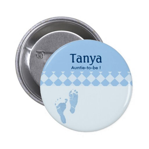 Blue Baby Feet Baby Shower Name Tag Button