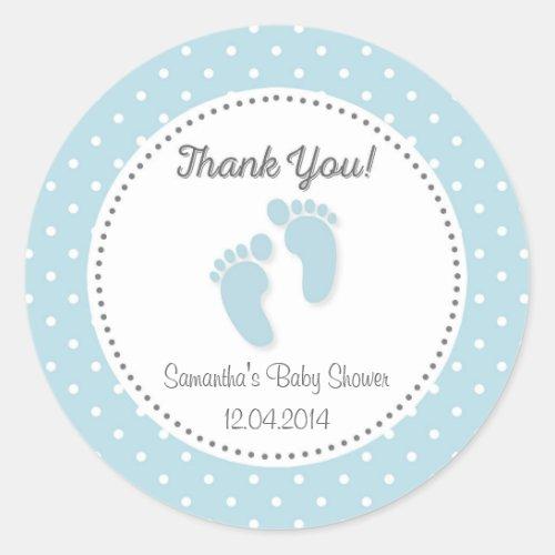 Blue Baby Feet Baby Shower Sticker