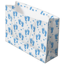 Blue baby feet pattern large gift bag