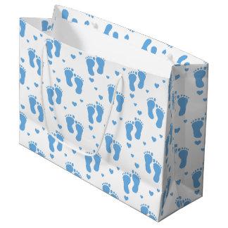 Blue baby feet pattern large gift bag