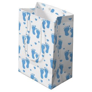Blue baby feet pattern medium gift bag
