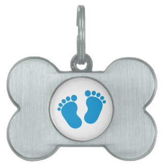 Blue baby feet pet tags