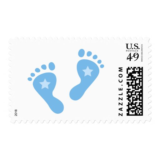 Blue baby feet postage stamp