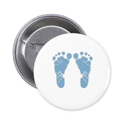 Blue baby footprints 2 inch round button