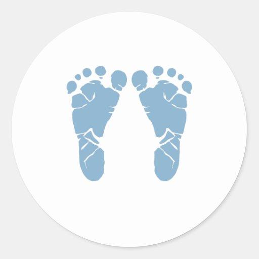 Blue baby footprints classic round sticker