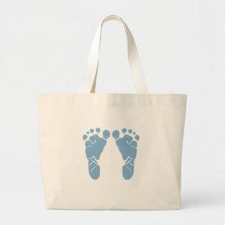 Blue baby footprints jumbo tote bag