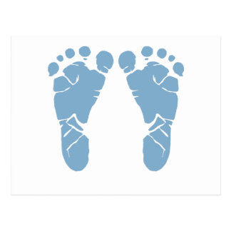 Blue baby footprints post card