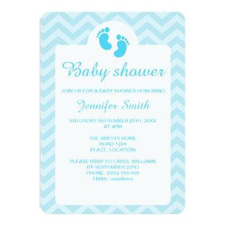 Blue Baby Footprints Silhouette Baby Shower Card