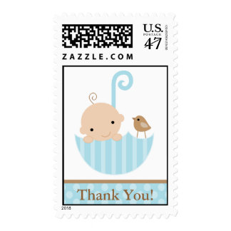 Blue Baby in Umbrella Postage Stamp