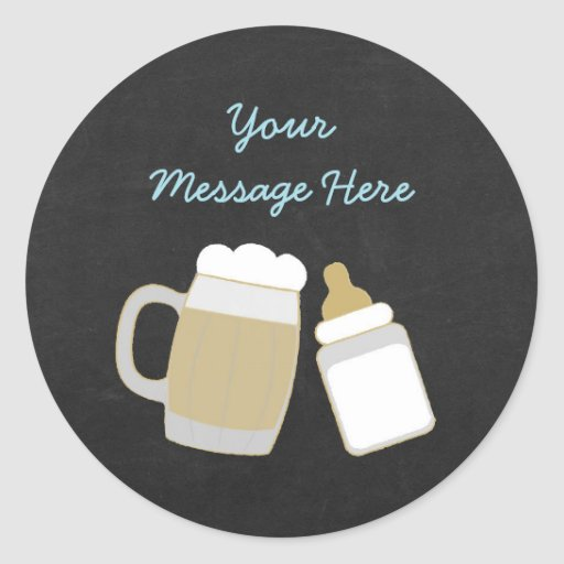 Blue Baby Is Brewing Baby Shower Classic Round Sticker
