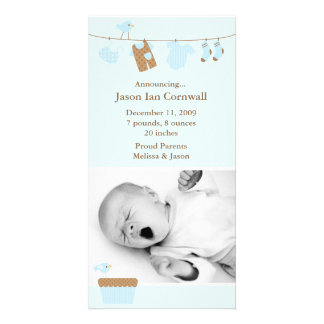 Blue Baby Laundry Birth Announcement Photo Greeting Card