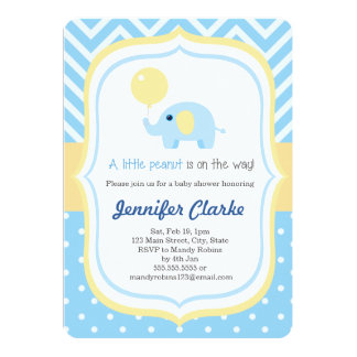 Blue Baby Little Elephant Baby Shower Invitation
