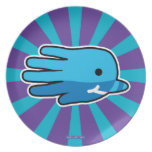 Hand shaped Blue Baby Narwhal Whale Tooth Dinner Plate