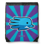 Hand shaped Blue Baby Narwhal Whale Tooth Drawstring Backpack
