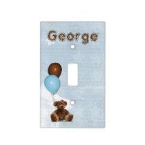 Blue Baby Nursery Teddy Bear Light Switch Cover