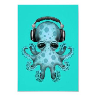Blue Baby Octopus Dj Wearing Headphones Card