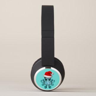 Blue Baby Octopus Wearing a Santa Hat Headphones