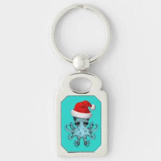 Blue Baby Octopus Wearing a Santa Hat Keychain