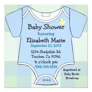 Blue Baby Outfit Shower Card