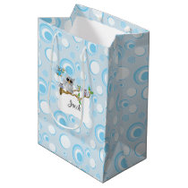 Blue Baby Owl Baby Shower Medium Gift Bag