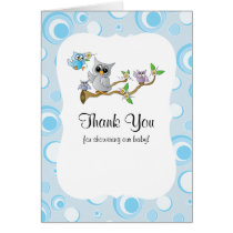 Blue Baby Owl Baby Shower Thank You Card