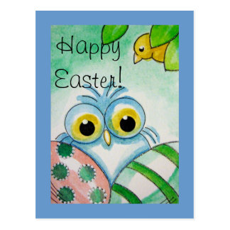 BLUE BABY OWL HAPPY EASTER Postcard