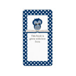 """Blue Baby Owl on Book Gift Bookplate Label<br><div class=""""desc"""">An adorable little baby boy owl is perched upon an open book in this cute navy blue and white polkadot bookplate. Shown as a gift book label with text stating &quot;this book is given with love from&quot;, but it can be easily customized as &quot;this book belongs to&quot; or any other...</div>"""
