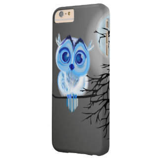 Blue baby owl on moon night background barely there iPhone 6 plus case