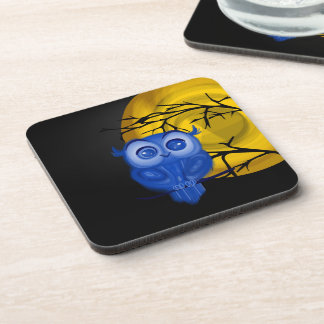 Blue baby owl on moon night background drink coaster