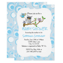 Blue Baby Owl | Shower Theme Card