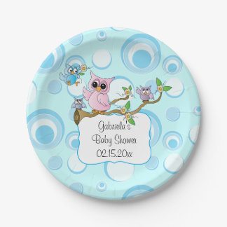 Blue Baby Owl | Shower Theme| DIY Text Paper Plate