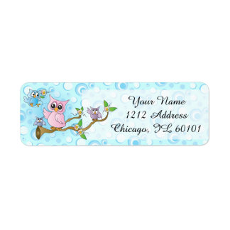 Blue Baby Owl | Shower Theme Label