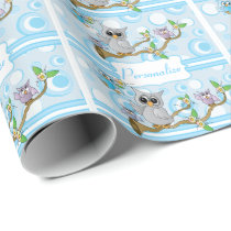 Blue Baby Owl | Shower Theme Wrapping Paper