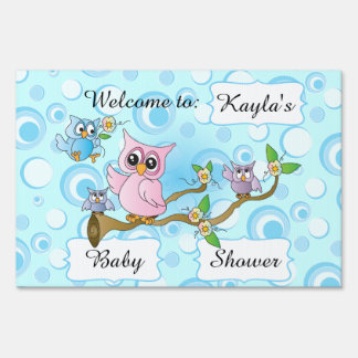 Blue Baby Owl   Shower Theme Lawn Sign
