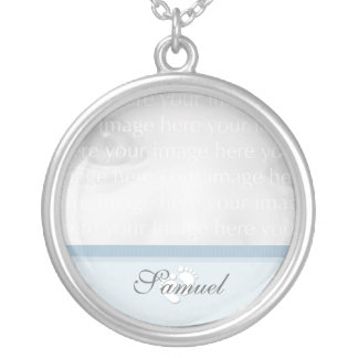 Blue Baby Photo Silver Necklace