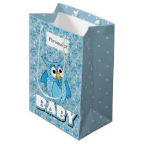 Blue Baby Polka Dotted Owl Medium Gift Bag