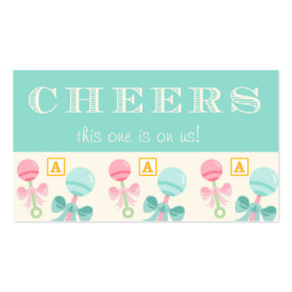 Blue Baby Rattle Baby Shower Drink Ticket Double-Sided Standard Business Cards (Pack Of 100)