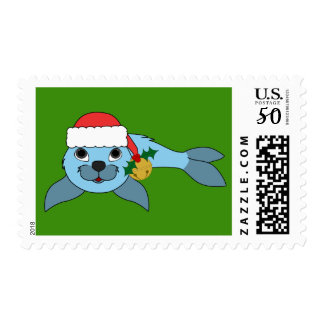 Blue Baby Seal with Santa Hat & Gold Bell Postage