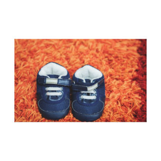 Blue baby shoes gallery wrap canvas