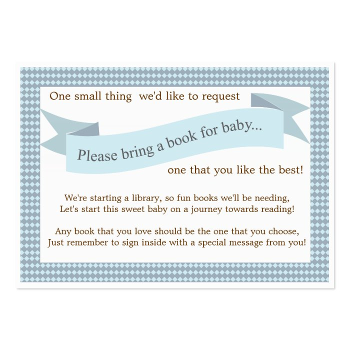 blue baby shower book insert request card zazzle
