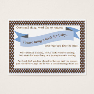 Blue Baby Shower Book Insert Request Card