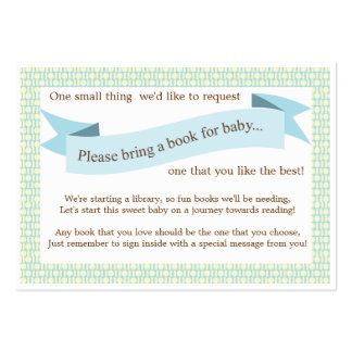 Blue Baby Shower Book Insert Request Card Business Card Template