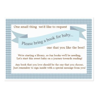 Blue Baby Shower Book Insert Request Card Large Business Card