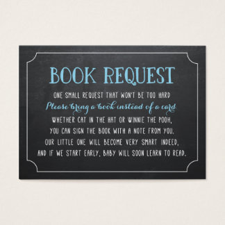 Blue Baby Shower Book Request, Bring a Book Business Card