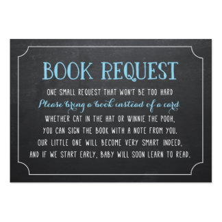 Blue Baby Shower Book Request, Bring a Book Large Business Card