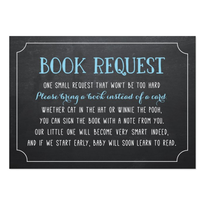blue baby shower book request bring a book large business card