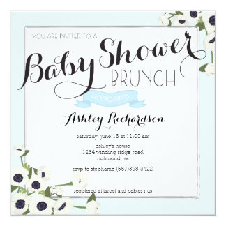 Blue Baby Shower Brunch Invitation