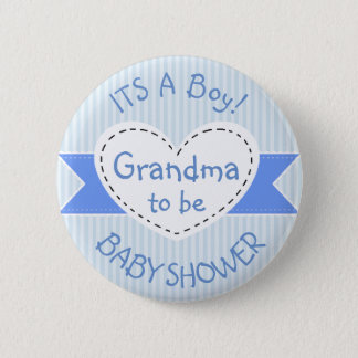 Blue Baby Shower Button Grandma to Be Button
