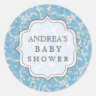 Blue Baby Shower Dessert Table Tag Label Sticker