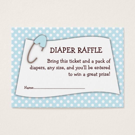 Blue Baby Shower Diaper Raffle Ticket Insert